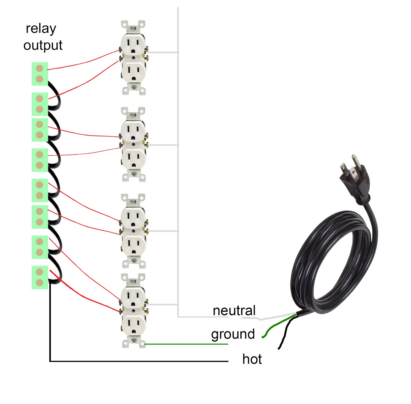 How To Build Fully Automated Musical Lights Halloween Christmas Tfir Relay Wiring I Have Created A Diagram Help You With Shorting And Connecting It Receptacles Please Note That In The Us White Is Hot Wire
